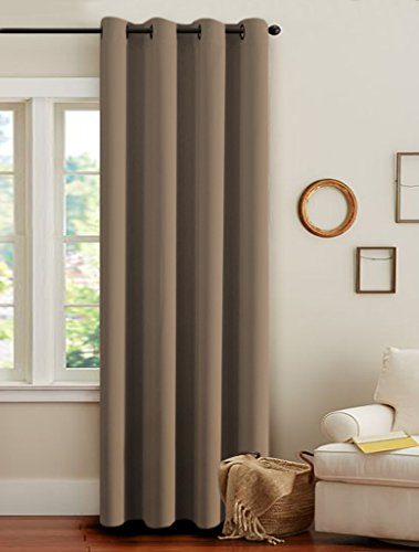 H.Versailtex Permier Soft Blackout Room Darkening Curtains,Energy Saving Window Drapes – (Warm Taupe Color) 1 Panel,52 inch wide by 96 inch long each panel,8 Grommets/Rings per panel
