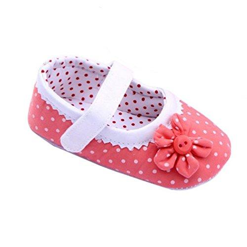 Zapatos de bebé,Xinantime Zapatos de las muchachas del verano Flor cuero de la PU (S, Rojo) Rosa Oscuro