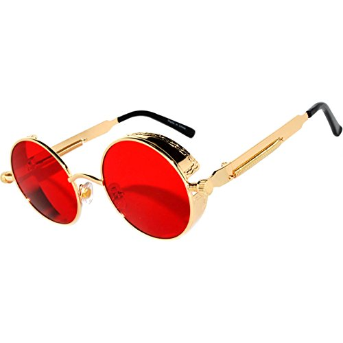 Steampunk Retro Gothic Vintage Hippie Gold Metal Round Circle Frame Sunglasses Sea Red Lens - Gold Circle Sunglasses