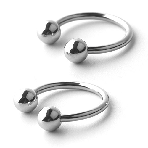 Ruifan 14G 14mm CBR Horseshoe Circular Rings 316L Surgical Steel for Lip Eyebrow Tongue Nipple Helix Tragus Cartilage Septum Piercing Jewelry 2PCS