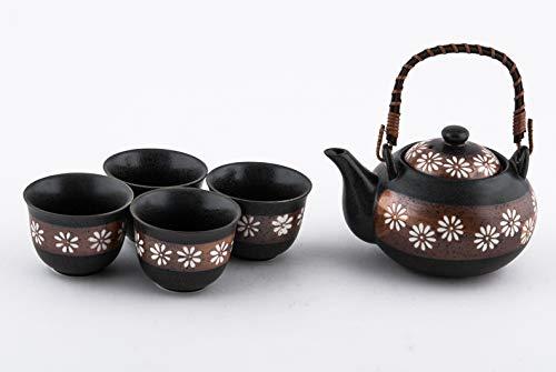 Japanese Chrysanthemum Flower Kiku Tea Set Ceramic Teapot with Rattan Handle and 4 Tea Cups (Brown)