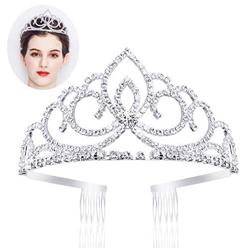 Ondder Wedding Prom Bridal Crown Rhinestone Crystal Decor Headband Veil Tiara for Women and Girls (Style 2)