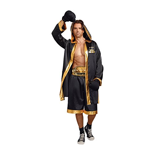 Dreamgirl Men's World Champion Costume, Black/Gold, Medium
