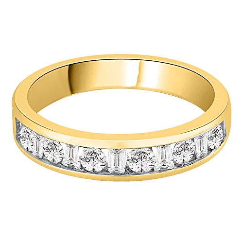 KATARINA Round And Baguette Diamond Wedding Band in 14K Yellow Gold (1/2 cttw, G-H, I2-I3) (Size-7)