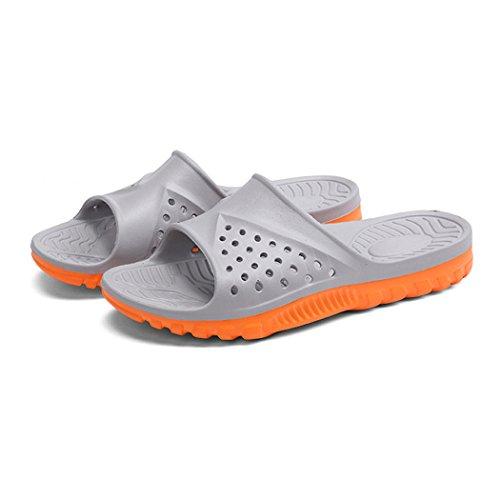 Bathroom Slippers, outgeek 1 Pair Home Sandals Anti Slip EVA Bath Slippers for Men Grey and Orange