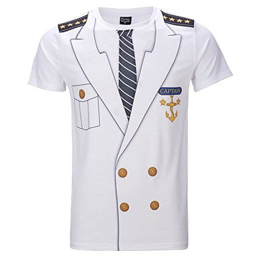 Sailor Halloween Costumes Men (Funny World Men's Captain Costume T-Shirts (XL))