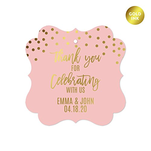 Pink Wedding Tag (Andaz Press Blush Pink and Metallic Gold Confetti Polka Dots Wedding Party Collection, Personalized Fancy Frame Gift Tags, Thank You for Celebrating With Us, 24-Pack, Custom Name)