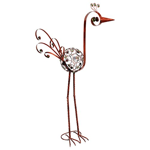 (Exhart Bronze Bird Statue -48 Inch Crane Home Decor in Filigree Design Made from UV Treated Metal - Decorative Metal Crane Statue Adorned with Emerald Green Crystal Beads, 28in L x 9in W x 48in H.)