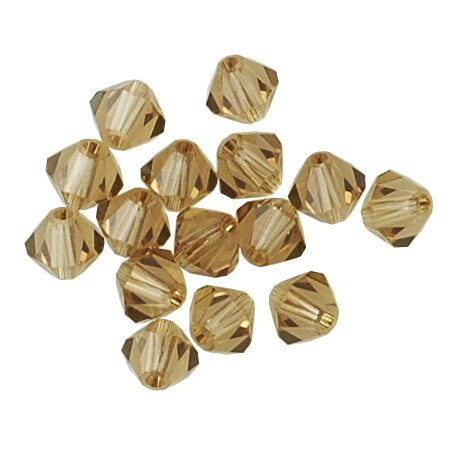 100 pcs 3mm Swarovski 5301 Crystal Bicone Beads, Light Smoked Topaz, (Smoked Topaz Swarovski Crystal Beads)