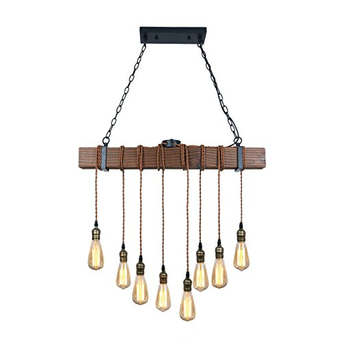 Multi Pendants Island Light (Unitary Brand Rustic Black Wood Hanging Multi Pendant Light with 8 E26 Bulb Sockets 320W Painted Finish)