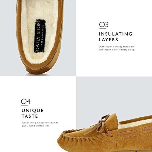Dailyshoes Donna Casual Mocassini Vegan Foderato Di Pelliccia Interno Piatto Confortevole Rotondo Classico Fannullone Sandalo Coperta Scarpe Outdoor Tan