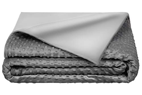 5-STARS-UNITED-Weighted-Blanket-Cover--60x80-Grey-Minky-Fleece-Bamboo-Removable-Duvet-Cover-Only