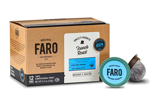 Faro French Roast, Extra Dark Roast Coffee, 100% Compostable, Fair Trade & Organic, Single Serve Cups for Keurig K-Cup Brewers, 72 Count