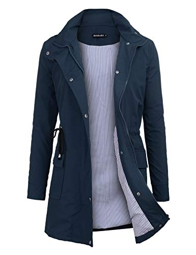 bosbary Women's Rain Jacket Windbreaker Raincoats Waterproof Lightweight Outdoor Hooded Trench Coats Navy ()