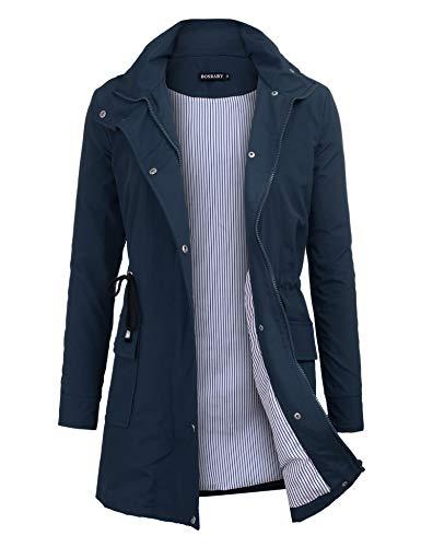 bosbary Women's Rain Jacket Windbreaker Raincoats Waterproof Lightweight Outdoor Hooded Trench Coats Navy Blue