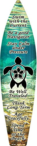 (Smart Blonde Sea Turtle Metal Novelty Surf Board Sign)