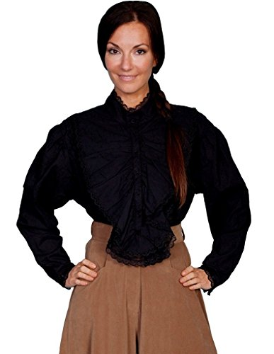 Scully Rangewear Women's Rangewear Floral Embroidered Lace Long Sleeve Top Black X-Large