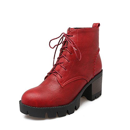 AllhqFashion Mujeres Tacón Alto Sólido Puntera Redonda Material Suave Cremallera Botas Rojo