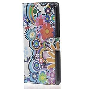 Flores coloreadas caso de cuero magnético con soporte de tarjeta y ranuras para lg leon 4g lte h340n