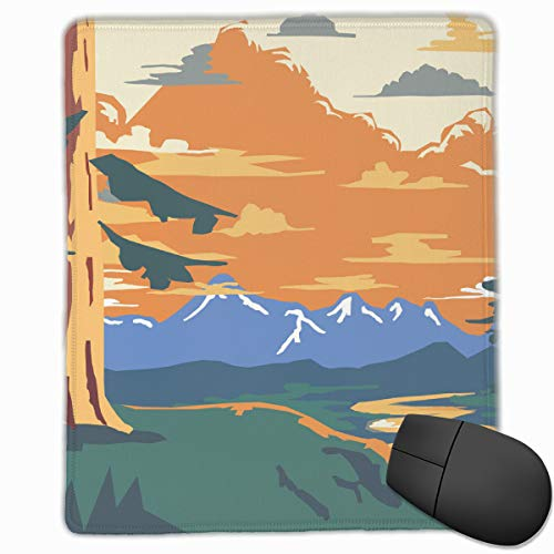 (Padida Mouse Pad Vintage Style Landscape Background Retro Ads Print Mousepad Non-Slip Rubber Gaming Mouse Pad Rectangle Mouse Pads for Computers Laptop)