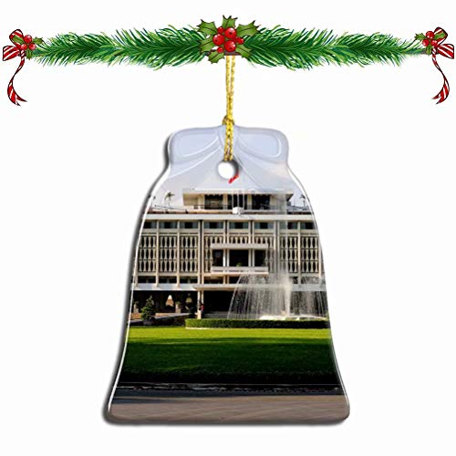 Fcheng Vietnam Reunification Palace Ho Chi Minh Christmas Ornament Ceramic Xmas Tree Decor Bell Shape City Travel Souvenir Sublimation Porcelain Home Decorative Hanging Gifts