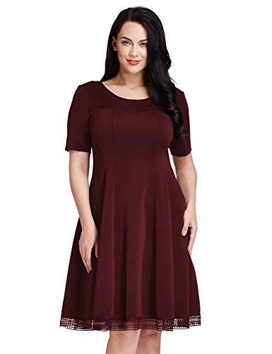 LookbookStore Womens Plus Size Maroon Crochet Hem Skater A-line Knee Length Dress 1X