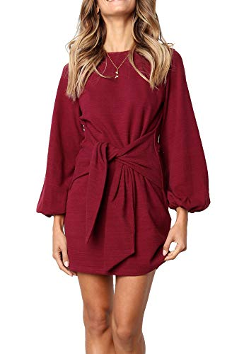 R.Vivimos Women's Autumn Winter Cotton Long Sleeves Elegant Knitted Bodycon Tie Waist Sweater Pencil Dress (Medium,Wine Red)
