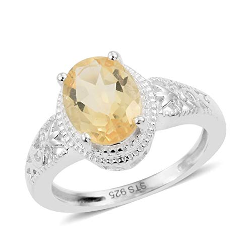 925 Sterling Silver Oval Citrine Engagement Ring for Women Jewelry Gift Size 6 Cttw ()