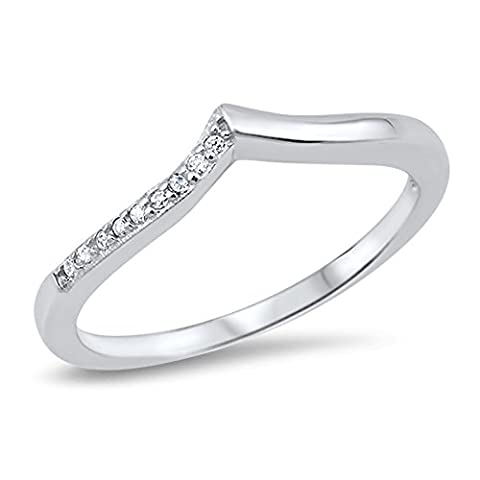 Chevron White CZ Pointed Thumb Ring Sterling Silver Stackable Band Size 8 (RNG16791-8) (Chevron Cz Ring)