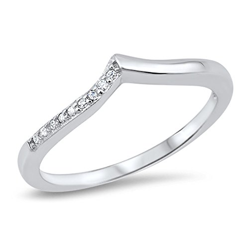 Chevron White CZ Pointed Thumb Ring Sterling Silver Stackable Band Sizes 3-12