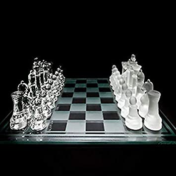Webby Glass Chess Set Featuring Frosted and Clear Glass Pieces & Glass Board(25x25CM)