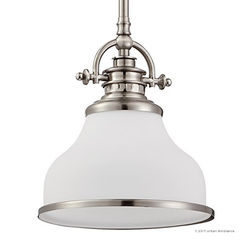 Luxury Industrial Pendant Light, Small Size: 9.5''H x 8''W, with Americana Style Elements, Nostalgic Design, Pretty Brushed Nickel Finish and Opal Etched Glass, UQL2336 by Urban Ambiance by Urban Ambiance (Image #7)