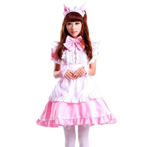 [VSVO Women's Cat Ear French Maid Cosplay Dress Halloween Costume (Larger, Pink)] (Larger Ladies Halloween Costumes)