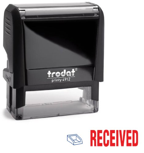 Trodat 2-Color Self-inking Stock Stamp - RECEIVED - Red/Blue Ink