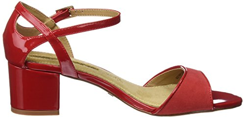 MARIA MARE Aurora, Sandalias con Tira a T para Mujer Rojo (Charol Rojo / Textil Suave Rojo)
