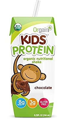 Orgain Kids Protein Organic Nutritional Shake, Chocolate, Non-GMO, Gluten Free, 8.25 Ounce, 12 Count