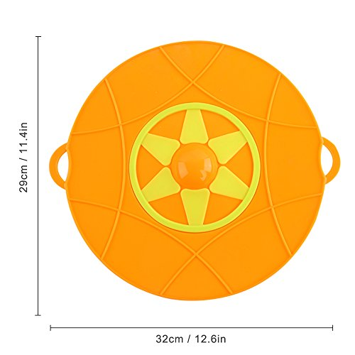 Kalrede Silicone Spill Stopper Boil Over preventer Splatter Guard Pot Pan Lid Cover 12.6-Inch diametter (yellow)