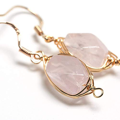 (Natural Stone Wire Wrap Dangle Drop Earrings Gold Plated 925 Sterling Silver Hook/Rose Quartz Cut)