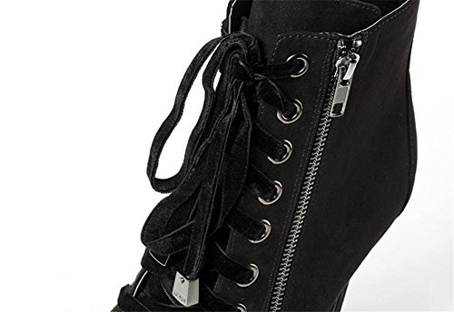 NVXIE Women's Sexy Ankle Short Boots Lace-up Zipper Winter Autumn Pointed Stiletto High Heel Suede Black Waterproof Nightclub Large Size 42 BLACK-EUR40UK7 zmK9p0h