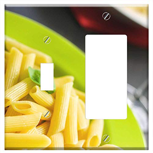 (1-Toggle 1-Rocker/GFCI Combination Wall Plate Cover - Rigatoni Pasta Noodles Food Meal Cuisine Cook)