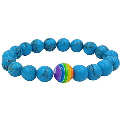 Nanafast Rainbow LGBT Pride Beaded Bracelet Elastic Bead Waistband Jewelry Blue Turquoise
