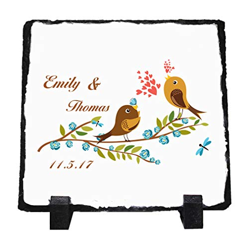 Personalized Custom Birds Love Singing Couple Stone Slate Plaque Picture ()