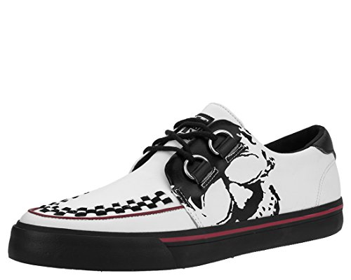 T.U.K. A9183 Unisex White Leather VLK Creeper Sneaker with Skull Print Tuk Creeper Shoes