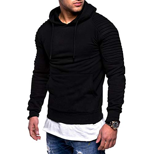 Vicbovo 2018 Hipster Mens Autumn Winter Slim Fit Solid Hoodie Sweatshirt Ruched Long Sleeve Pullover Tops with Pocket (Black, XL) by Vicbovo (Image #2)