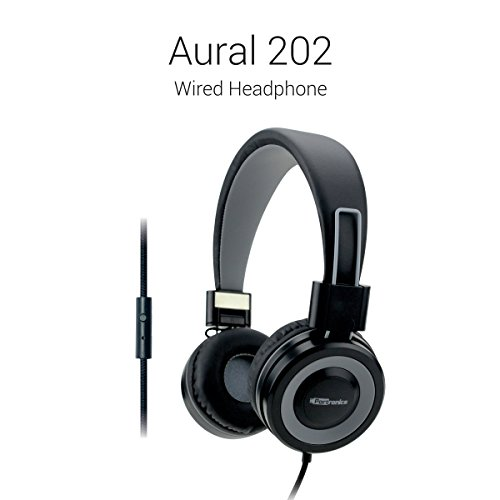 Portronics Aural 202 Wired Headphones (Grey) with In-Line Mic