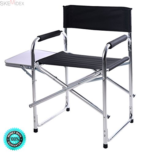 SKEMiDEX---2PC Aluminum Folding Director's Chair with Side Table Camping Traveling. This is an ideal chair for motion picture directors, actors, or staff by SKEMiDEX