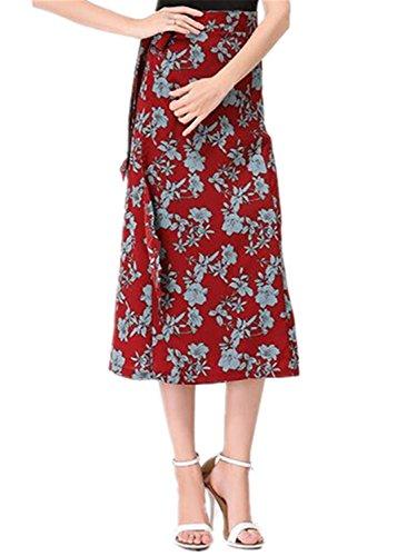 NENGWENWU New Summer Floral Skirt Women Linen Long Skirts Asymmetrical Lace Up Skirt Black Red Orange Army Green