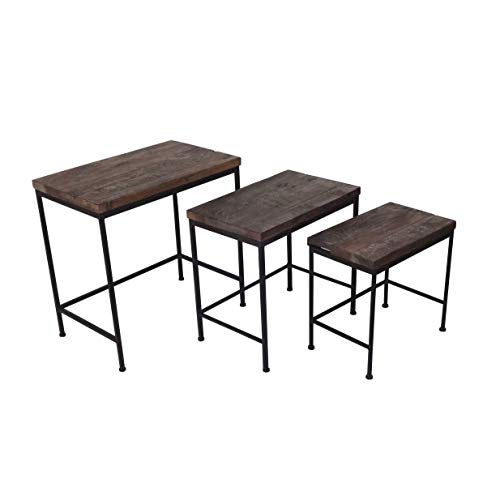 Jeco 3-Piece Wood and Iron Nested Reception Table Set (Tables Iron Nesting Square)
