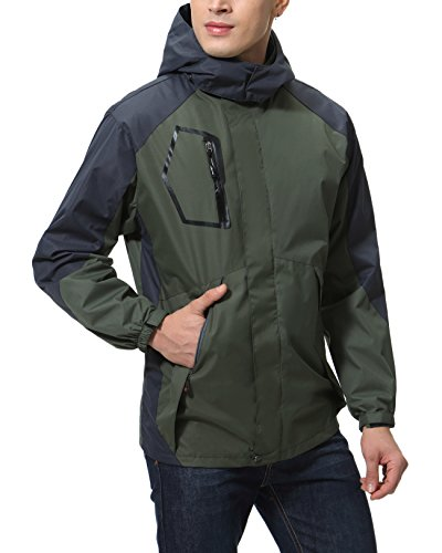 YUNY Mens Hiking Detachable Hood Padded Thermal Parka Jackets Black M
