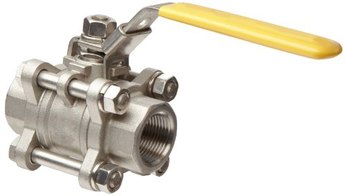 Merit Brass Stainless Steel 316 Ball Valve, Three Piece, Full Port, Lever, 3'' NPT Female by Merit Brass